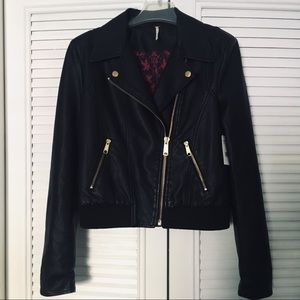 Free People faux leather bomber jacket